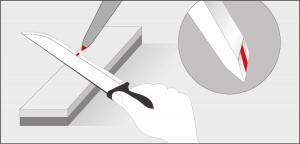 Zeichnung Schärfen von Messern Fase markieren